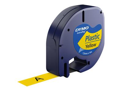 Cinta rotuladora letratag 12mmx4m negro/amarillo dymo