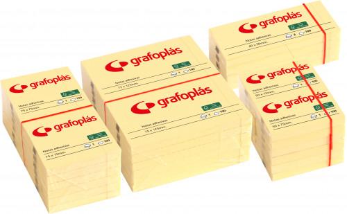 Bloc 100 notas adhesivas 75x75mm amarillas