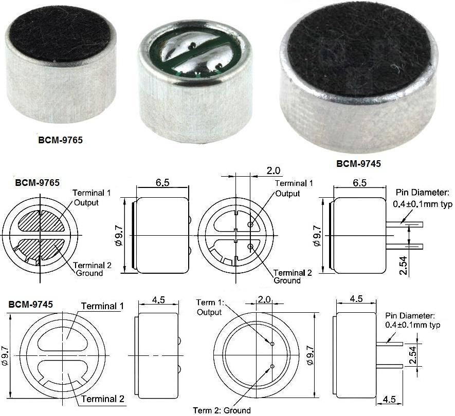 Capsula Microfonica Electret 2k2 Ohm Alimentacion