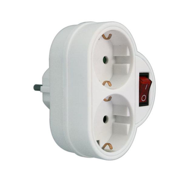 Adaptador 2 tomas con interruptor 16A/250V