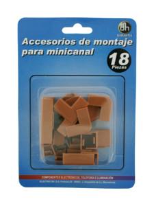 Kit en blister de 18 accesorios de montaje para minicanal de 48.010/M 8430552122547