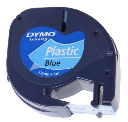 Cinta rotuladora letratag 12mmx4m negro/azul dymo